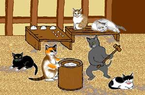 Gatos preparando mochi