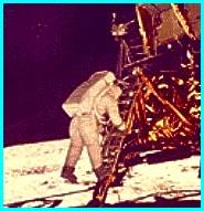 Buzz Aldrin Exiting Lunar Lander