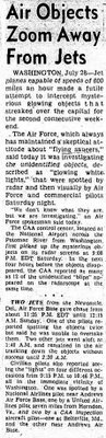Air Objects Zoom Away Sturgis Journal 7-28-1952