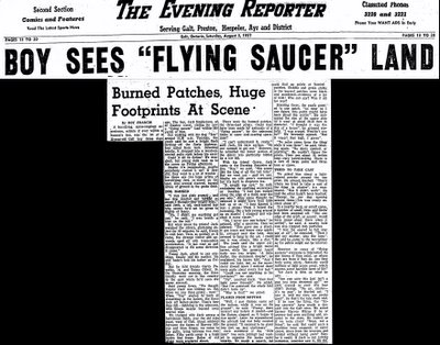 Boy Sees Saucer Land (Cropped) - The Evening Reporter 8-3-1957