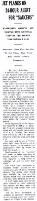 Jet Planes On Alert For Saucers-Bellefontaine Examiner Ohio-7-28-1952