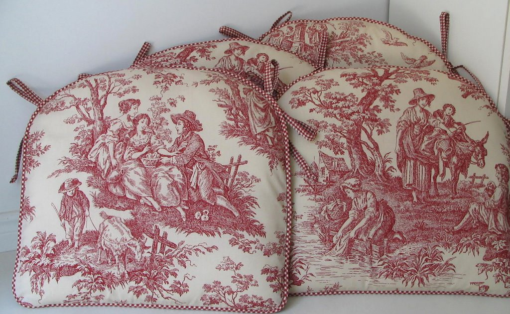 Red Toile Chair Pads