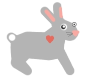 A crude representation of a rabbit, created in the Gimp, by the KnitOwl, MLWM