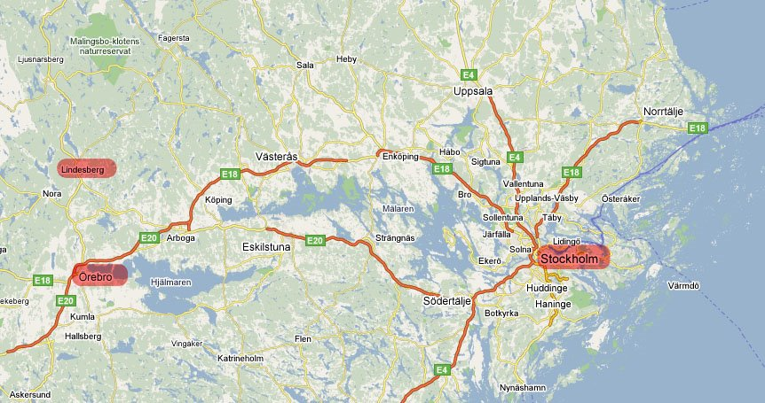 Nina and Roberts Wedding Map of Sweden Stockholm to Orebro and