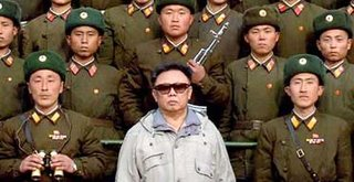North Korean leader Kim Jong-Il with DPRK soldiers