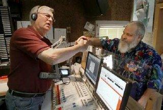 Bob Kelly and Dennis Staples saying goodbye