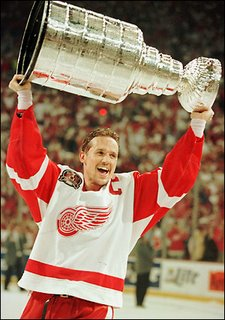 Steve Yzerman with Stanley Cup trophy