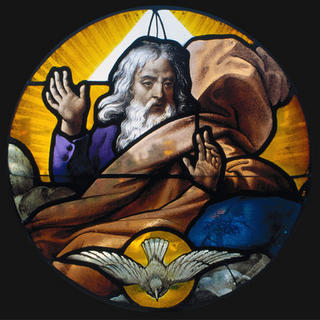 God the Father and the Holy Spirit. From the stained glass collection of Saint Joseph's University, Philadelphia
