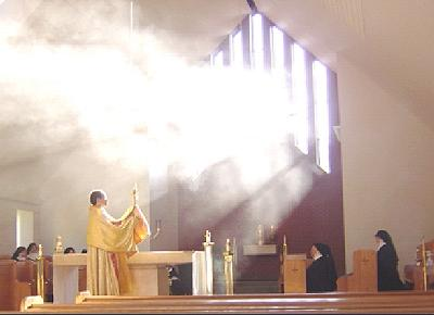 Benediction on September 27, 2005 at St. Emma Monastery by Father Jonathan Wisnieski,Vocation Director of the Diocese of Greensburg using monstrance blessed by the great Pope John Paul II