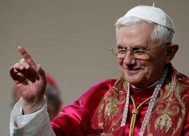 Pope Benedict at a seminary today