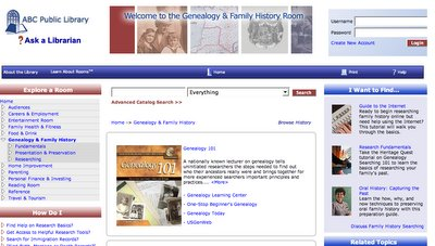 Genealogy & Family History Room screen shot