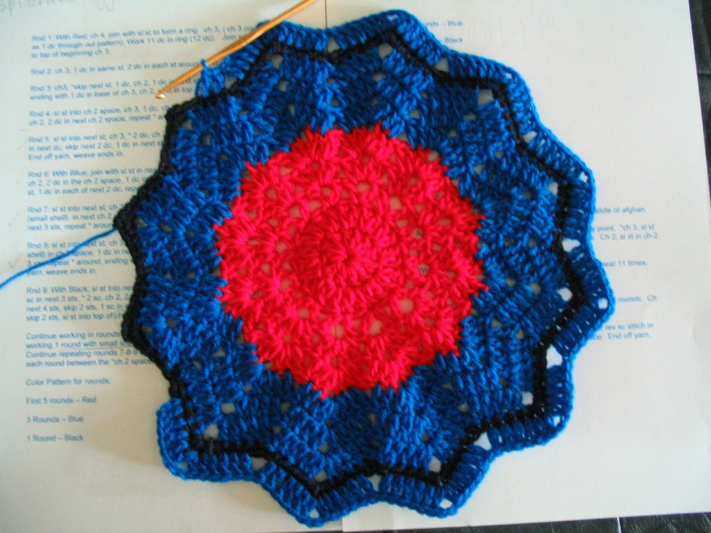 Cyn\'s Crochet & Knitting Corner: Spiderman Afghan (crochet)