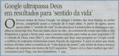 Google ultrapassa Deus em resultados para 'sentido da vida'
