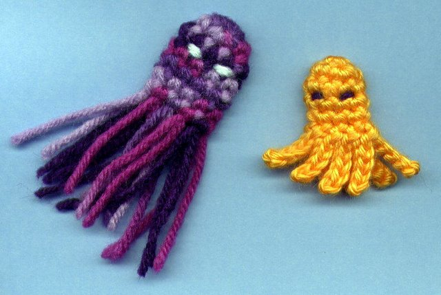Crochet Patterns Only Squid Octopus Finger Puppets