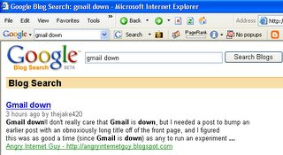 Gmail is down and I have the number one spot in the search results