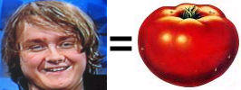 Yes, Tom Chaplin's face is a tomato.