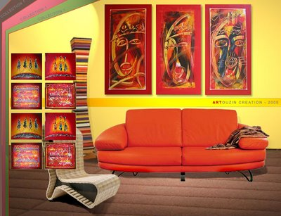ouzin artiste peintre a montpellier art moderne art africain deco le pacha. Black Bedroom Furniture Sets. Home Design Ideas