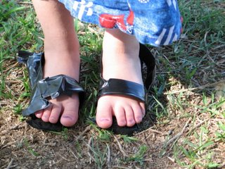 Joy wearing duct tape sandals