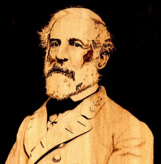 Robert E. Lee pyrographed by Daniel Tate.