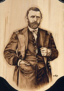 Ulysses S. Grant woodburned by Daniel Tate.