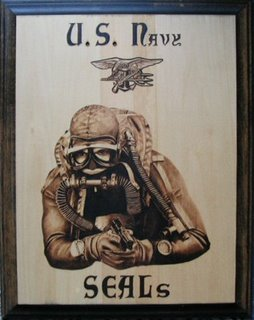 A pyrographic tribute to the U.S.Navy SEALs