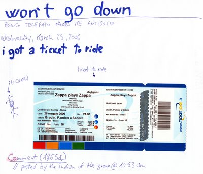 MY ticket to Zappa Plays Zappa, Rome, 28.5.06