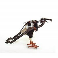 robot like animal sculptures out of broken electronics and machines. vulture