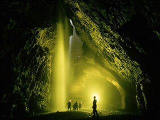 in cave waterfall