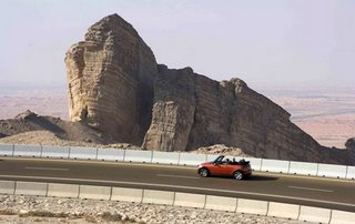 The road is cut into the Jebel Hafeet mountain, the highest peak in the United Arab Emirates, the oil-rich Persian Gulf state.