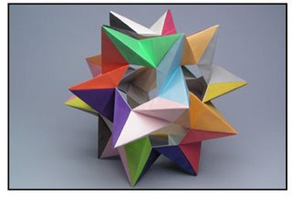 Origami - five tetrahedra