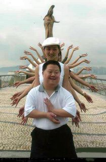 chinese tourist with many hands. asian hand job