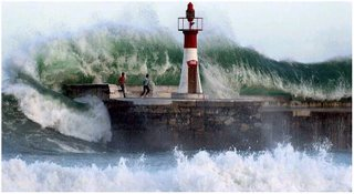 big wave smashed light house