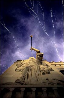 Lightning ripples over the Bass Performance Hall in Fort Worth, Texas