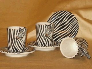 beautiful ceramic cup set of zebra painted