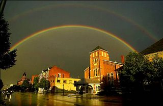 double rainbow over downtown Chillicothe, Ohio