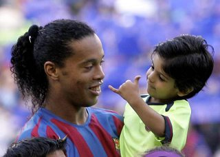Ronaldinho with boy