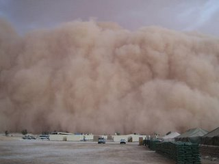 a cloud of sand, dust move