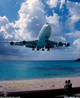 Airplane  landing at St Maarten Airport