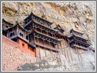 built at cliff of Mount Hengshan. Used for monk and shoalin kungfu practitioners. Stone temple pilot