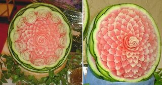 a bouquet of flower engraved from watermelon