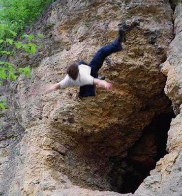 free fall from cave