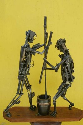 sculpture made from weaponry