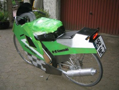 kawasaki ninja made from bicycle and scraps