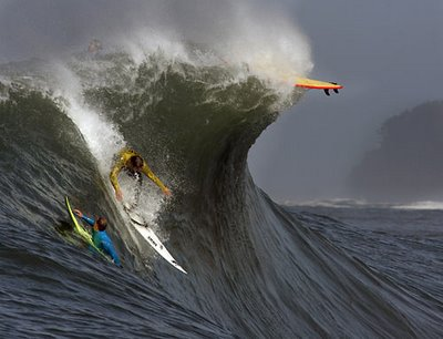 surfing on wild wave