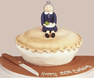 grand mother on the pie cake