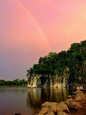 nice lake with rainbow