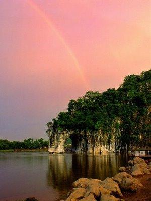 nice lake with rainbow