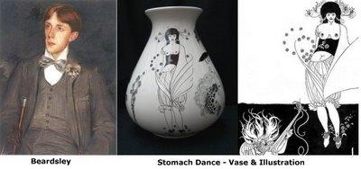 Beardsley picture, vase and illustration