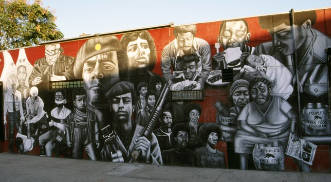 Souled on music art politics and life march 2006 for Black panther mural
