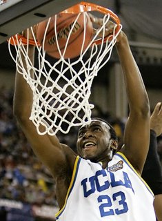 UCLA's Luc Richard Mbah a Moute scores during the first half against LSU in their Final Four semifinal basketball game in Indianapolis, Saturday, April 1, 2006. (AP Photos/Michael Conroy)